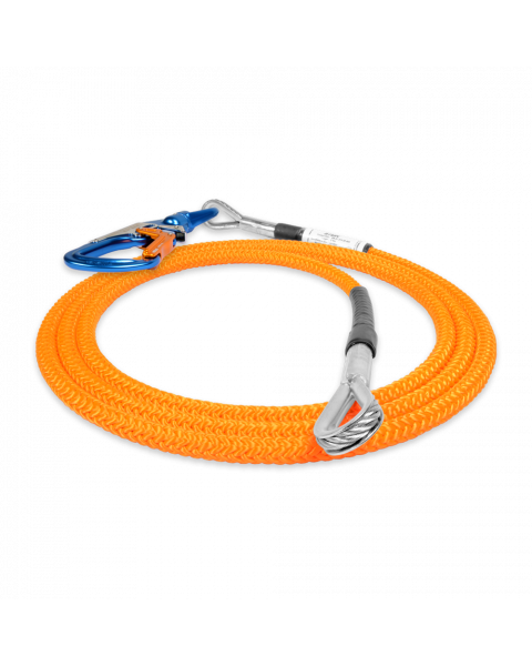 5.0m Wire Core Work Positioning Lanyard 3-way Swivel Snap